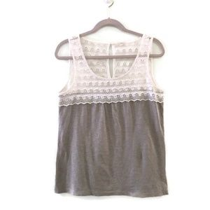 J. CREW Scallop lace shell tank top